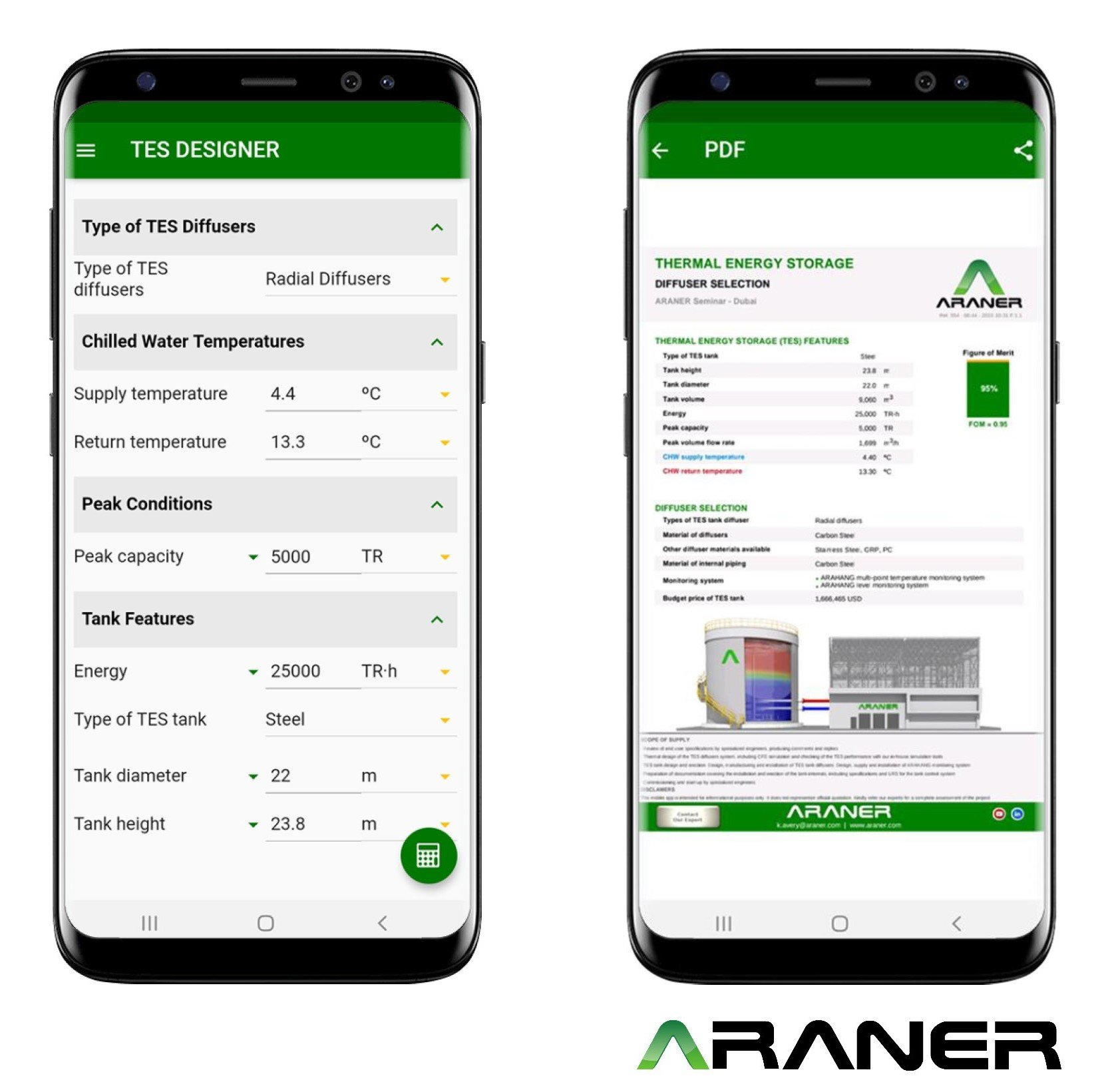 araner tes application with real calculations